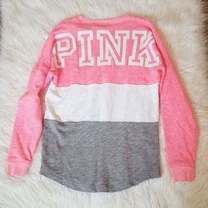 PINK VS Pink White Grey Colorblock Long Sleeve Top